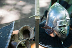 Details of the medieval knight equipment Royalty Free Stock Photo