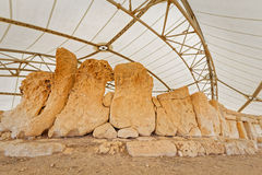 Details of megalithic temples of Malta (super wide angle) Royalty Free Stock Photos