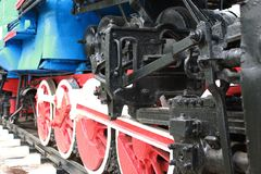 Details of the metal parts of vintage railway train Stock Photography