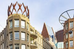Details of modern architecture in city centre of the Hague, Netherlands stock photos