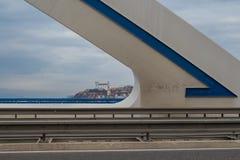 Details of a modern bridge, Bratislava, Slovakia Royalty Free Stock Photo