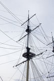 Details of modern sail modern ship masts Royalty Free Stock Photo