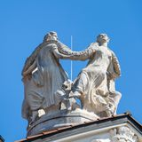 Details of Monument on the top of famous historical Building Kurhaus in Meran. Province Bolzano, South Tyrol, Italy. Europe royalty free stock photos