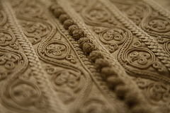 Details of a Moroccan djellaba. For men , with its embroidery and lace Royalty Free Stock Photo
