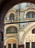 Details of moscow window decor. Detail of window decor in old modern style/ Moscow old building stock photo