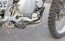 Details on motorbike. In the park in nature Stock Photo