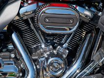 Motorcycle bike chrome engine and exhaust Royalty Free Stock Photography