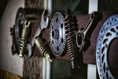 Details for motorcycle, garage, interior decoration Stock Images