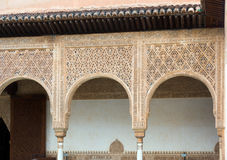 Details of the Myrtles Patio de los Arrayanes in  Alhambra. GRANADA, SPAIN - MAY 13, 2016: Details of the Myrtles Patio de los Arrayanes in  Alhambra.  Granada Stock Images