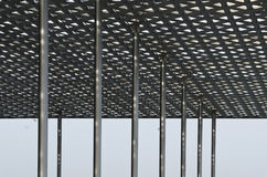 Details of modern steel roof stock images