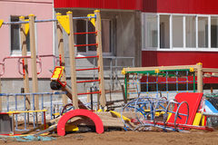 Details of new playground near building on construction s Royalty Free Stock Photos