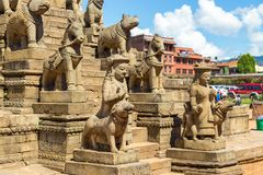 Details of the Nyatapola Temple in Bhaktapur royalty free stock images