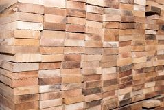 Details of oak boards stacked stock image