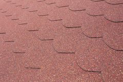 Details od red asphalt shingle Stock Photo