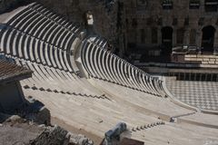 Details Of Ancient Odeon Of Herodes Atticus In Athens, Greece On Acropolis Hill Stock Image