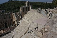 Details Of Ancient Odeon Of Herodes Atticus In Athens, Greece On Acropolis Hill Royalty Free Stock Image