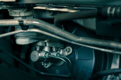 Free Details Of Car Engine, Brake Booster And Master Cylinder, Brake System Components In Modern Car Stock Photo - 185194980