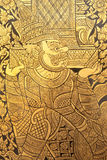 Details Of Thai Traditional Style Giant Painting. Royalty Free Stock Photos