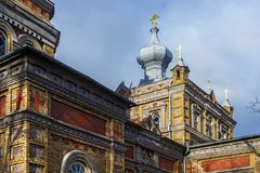 Free Details Of The Estonian Apostolic Orthodox Parnu Transformation Of Our Lord Church. Was Built From Yellow Bricks In 1904 In The Royalty Free Stock Photography - 164345707