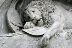 Details Of The Lion Of Luzern In Switzerland Stock Images