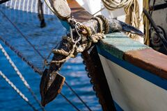 Free Details Of The Vintage Rusted Anchor Hanging From An Old Sailing Ship Stock Images - 176083754
