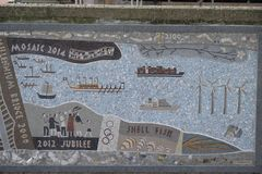Queenhithe Mosaic along the North Bank of the Thames. Details ofthe Queenhithe Mosaic on the North Bank in London UK Royalty Free Stock Photo