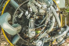 Details of old airplane engine stock photos