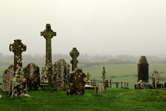 Details of old Celtic crosses and rolling fields,Rock Of Cashel,County Tipperary,Ireland,2014 Stock Photography