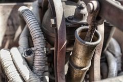 Details of an old fire extinguisher machine on a court in Cserna Royalty Free Stock Image