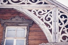 Details of the old historical wooden architecture, Rakvere, Esto. Nia. Traditional house with carved wooden details stock image