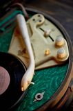 The details of the old record player.Retro style in music Royalty Free Stock Image