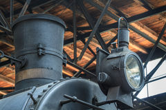 Details of old steam locomotive. / engine in railway museum Royalty Free Stock Photos