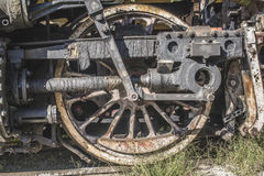 Details of an old steam locomotive. Close up wheels. Bulgaria Royalty Free Stock Photography