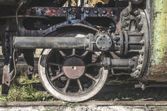 Details of an old steam locomotive. Close up wheels. Bulgaria Stock Images