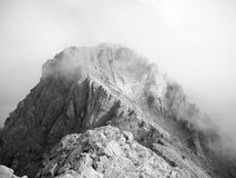 Clouds over mytikas peak greece black and white Royalty Free Stock Images