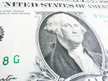 Details of a one dollar bill, George Washington in foreground Royalty Free Stock Photography
