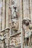 Details of the ornate marble facade at Milan Cathedral Stock Photo