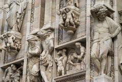 Details of the ornate marble facade at Milan Cathedral Royalty Free Stock Photos