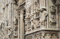 Details of the ornate marble facade at Milan Cathedral Royalty Free Stock Photo