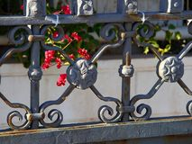 Details of ornate wrought iron elements  metal gate. Closeup setails of ornate wrought iron elements  metal gate with flowers in the background Stock Image