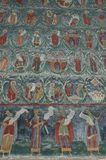 Details of painted exterior walls at the Voronet Monastery Royalty Free Stock Photos