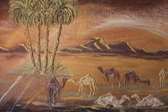 Details of paintings in the Badr museum owned by local egyptian artist, Badr Abdel-Moghni Ali, Farafra Oasis, Egypt Stock Photography