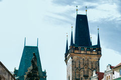 Details peaks Gothic buildings in Prague Stock Photography