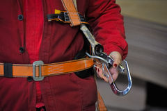 Details of person with safety belt Royalty Free Stock Photos
