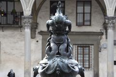 Details of Piazza SS. Annunziata, in Florence. stock photo