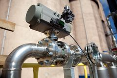 Details of pipeline. In chemical factory Royalty Free Stock Image