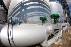 Details of pipeline. In chemical factory Royalty Free Stock Photos