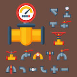 Details pipes different types collection of water tube industry gas valve construction and oil industrial pressure. Technology plumbing vector illustration Royalty Free Stock Images