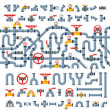 Details pipes different types collection of water tube industry gas valve construction and oil industrial pressure. Technology plumbing vector illustration Royalty Free Stock Photos
