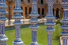 Details from the Plaza de Espana in Seville, Spain stock photography